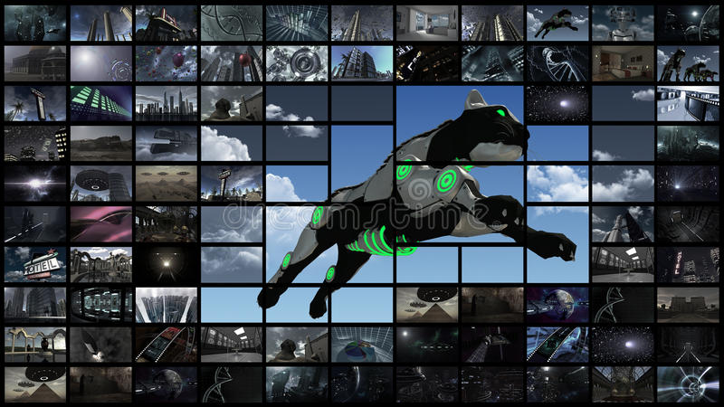 3d rendering. Video wall with futuristic panther stock illustration