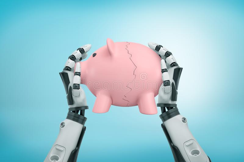 3d rendering view from above of robot hands holding tight piggy bank broken in halves on light-blue background. royalty free stock image