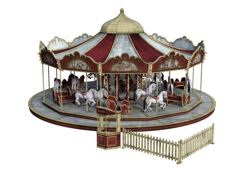 3D Rendering Vintage Carousel on White royalty free stock photography