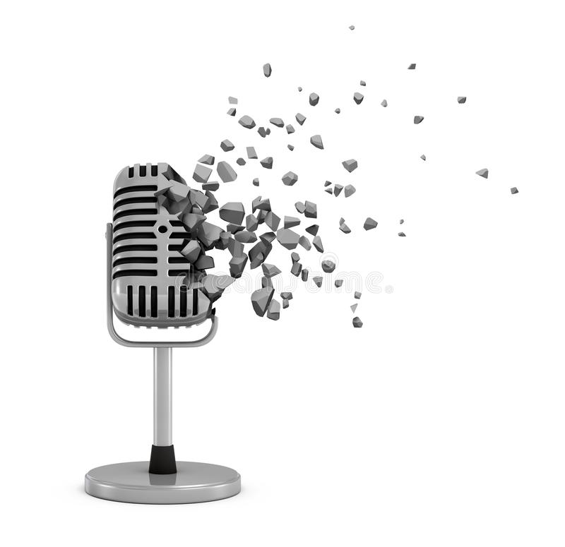 3d rendering of vintage microphone shattering into small pieces isolated on white background stock illustration
