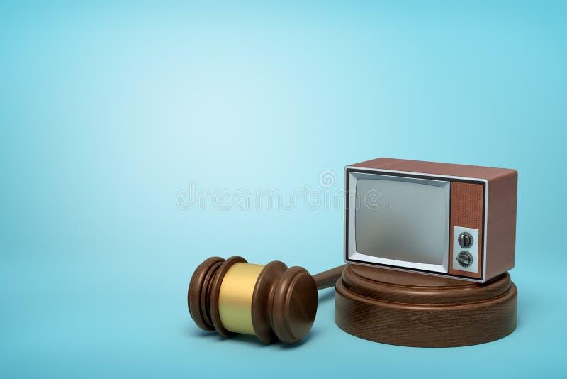 3d rendering of vintage tv set on round wooden block and brown wooden gavel on blue background. Vintage vehicles. Technologies and communication. Digital art vector illustration