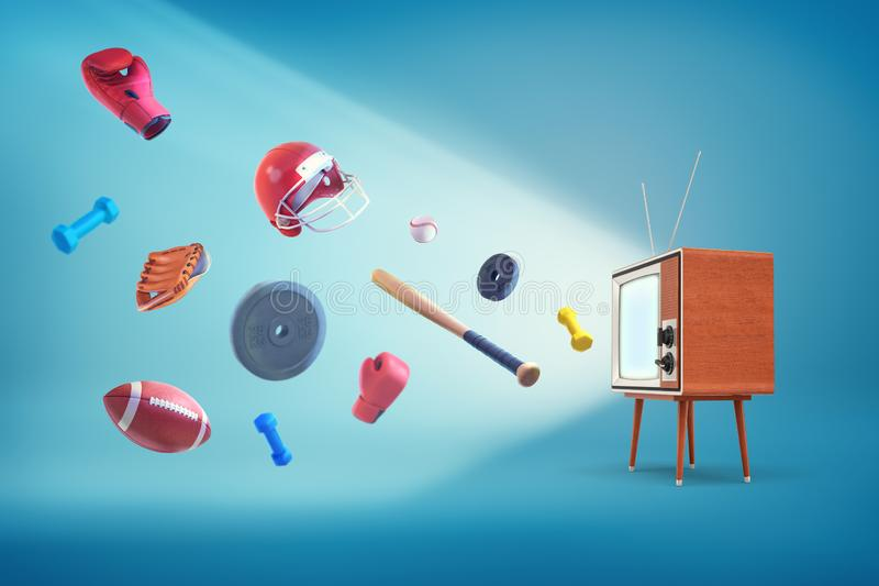 3d rendering of vintage wooden cased TV set with many sport items flying out of it - baseballs, balls, weights, gloves royalty free illustration