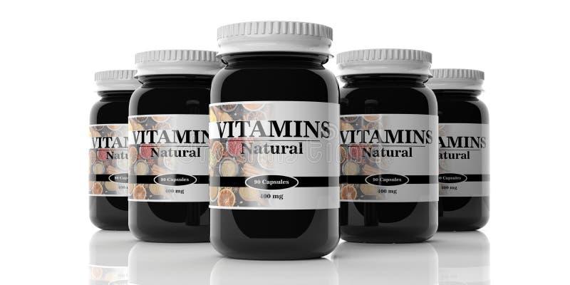 3d rendering vitamins bottles. On white background stock illustration