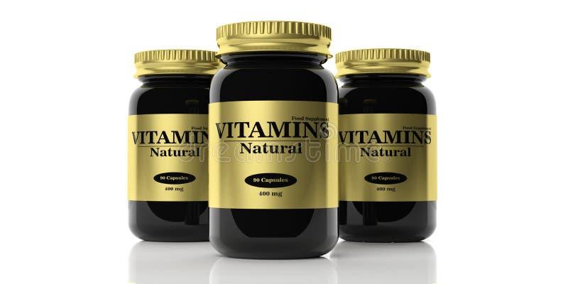 3d rendering vitamins bottles. On white background royalty free illustration