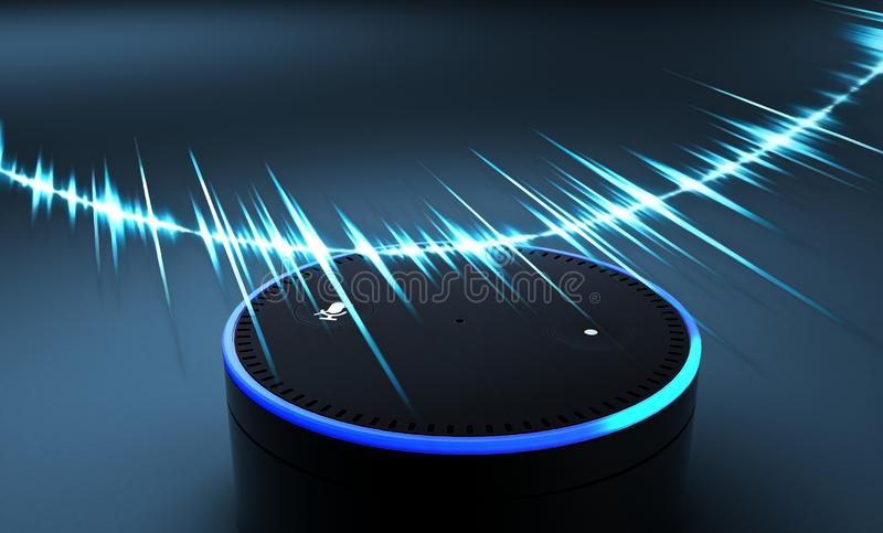 3d rendering of voice recognition system on blue ground royalty free stock photography