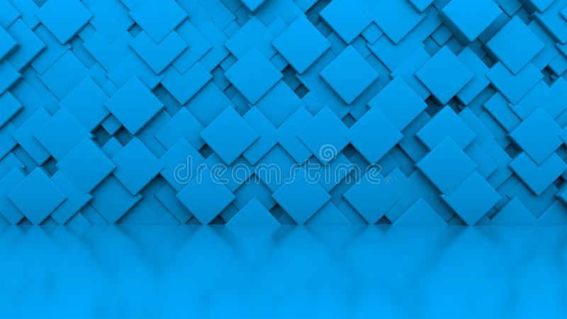 3d rendering wall of blue cubes located at different levels in a blue studio. Computer generated abstract background. vector illustration
