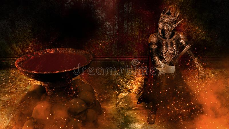 3D rendering of a Warrior at Bloody background royalty free illustration