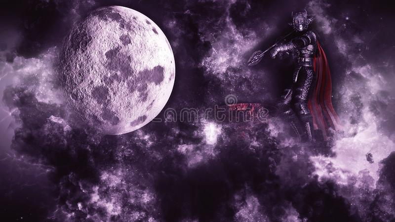 3D rendering of Warrior on Tower at moon background vector illustration