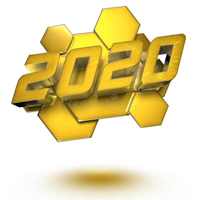 2020 3D.with Clipping Path. stock illustration