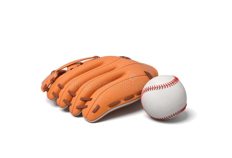 3d rendering of a white baseball with red stitching lying near an orange leather mitt on a white background. Baseball equipment. Hardball vector illustration