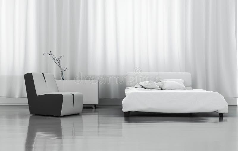 3D Rendering White Bedroom stock illustration