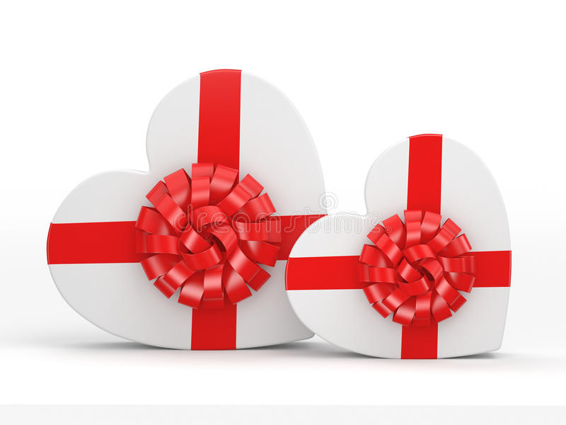 3D rendering White boxes heart. 3D rendering White boxes with heart shaped red ribbon stock illustration
