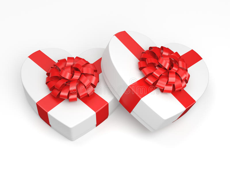 3D rendering White boxes heart. 3D rendering White boxes with heart shaped red ribbon royalty free illustration