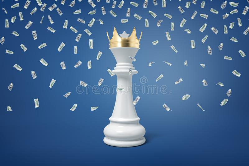 3d rendering of a white chess pawn wearing a golden crown under many falling dollar bills. Strategy and victory. New winner. Moving up career ladder stock photos