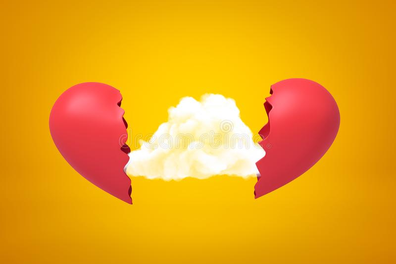 3d rendering of white cloud between two red broken heart pieces on yellow background stock images