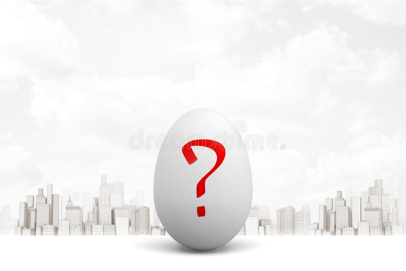 3d rendering of white egg with red question mark on white city skyscrapers background. Digital art. Signs and symbols. Objects and materials stock photo