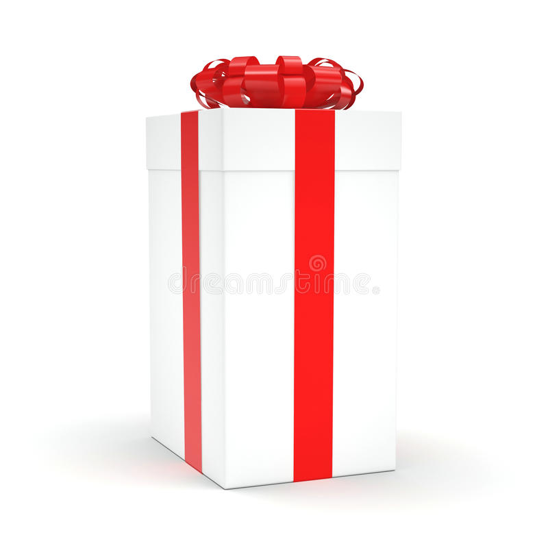 3D rendering White gift box. With red ribbon bow royalty free illustration