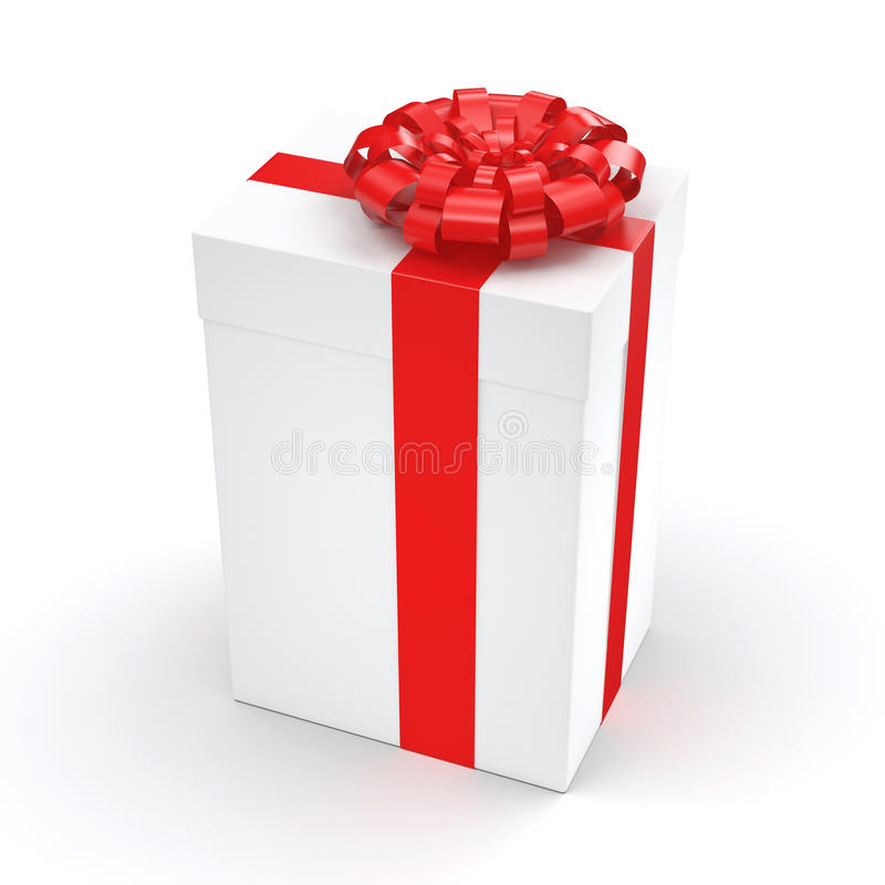 3D rendering White gift box. With red ribbon bow stock illustration