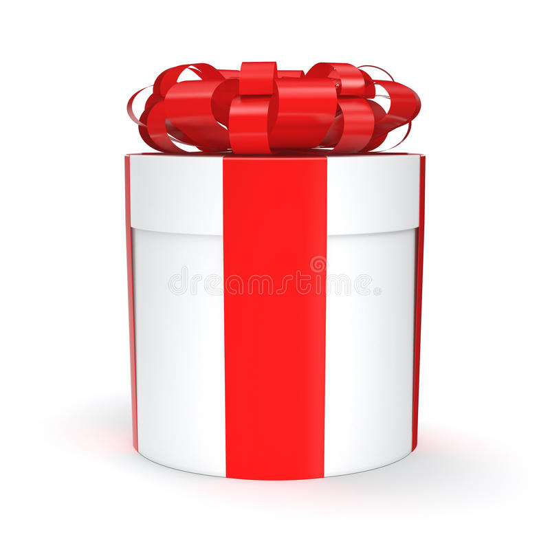 3D rendering White gift box. With red ribbon bow vector illustration