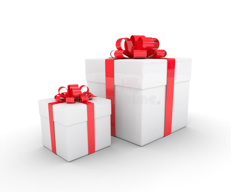 3d rendering of white gift boxes with red ribbon over w stock illustration