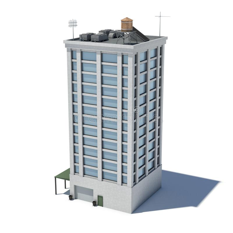 3d rendering of a white high office building with many large windows and a garage on the ground floor. stock illustration