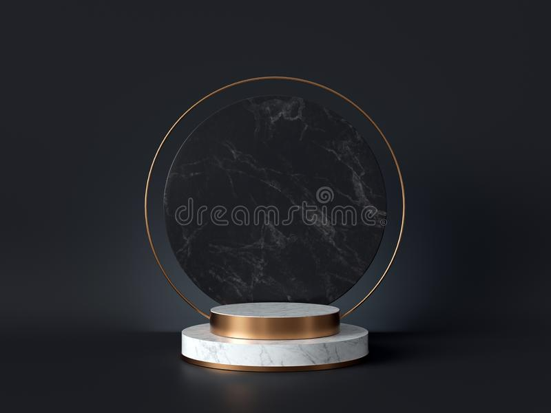 3d rendering of white marble pedestal isolated on black background, round gold frame, memorial board, cylinder steps, abstract royalty free illustration