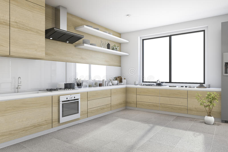 3d Rendering White Minimal Kitchen With Wood Decoration Built In ...