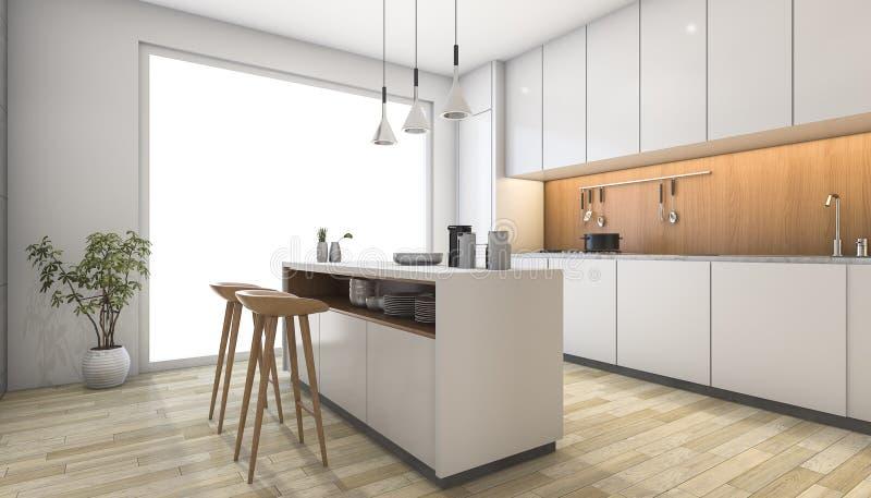 3d rendering white modern kitchen with wood bar stock for Planificador de cocinas 3d gratis