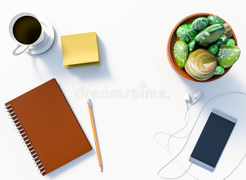 3D rendering of White office desk table with notepad and pencil,. Smartphone with earphone, stone cactus pot, and coffee stock illustration
