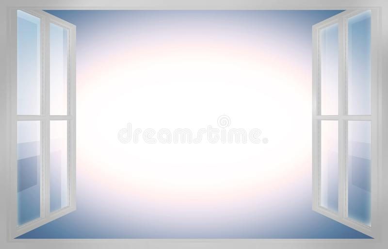 3D rendering of a white open window - concept image with copy space.  stock illustration
