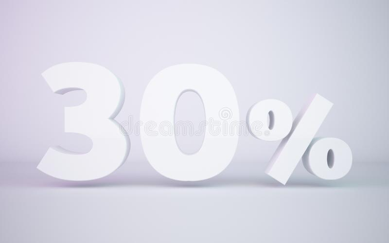 3D rendering white 30 percentage isolated white background stock illustration