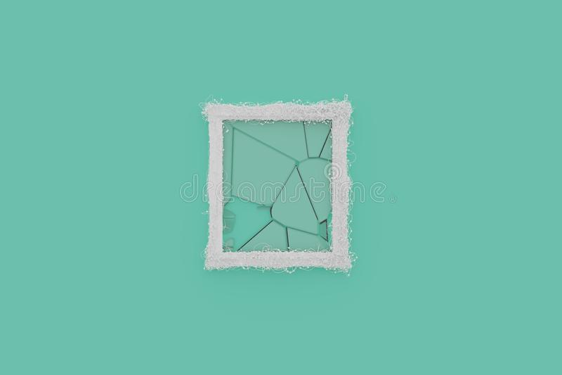3d rendering of white picture frame with shattered glass laying on cyan background and embraced with wire. 3d rendering of white picture frame laying on cyan stock illustration