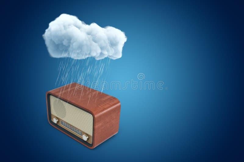 3d rendering of white rainy cloud above vintage retro radio on blue background stock illustration
