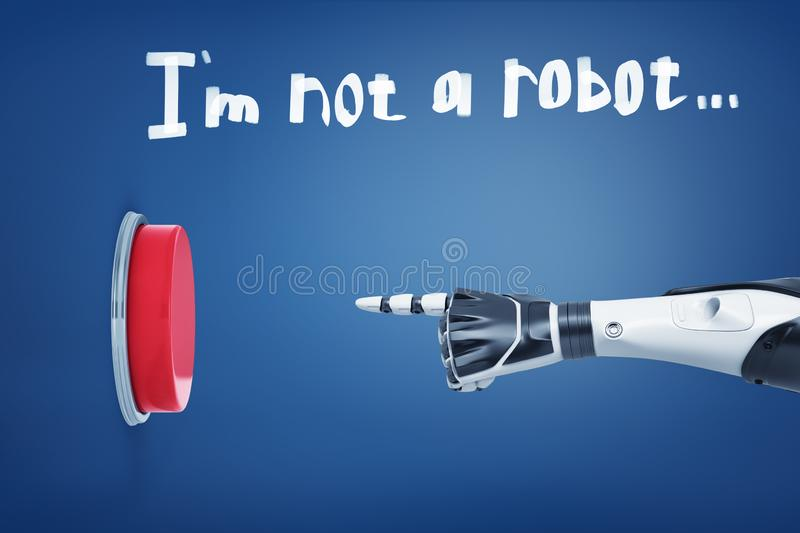 3d rendering of white robotic arm points at a large red button under a sentence I`m not a robot written above. royalty free illustration