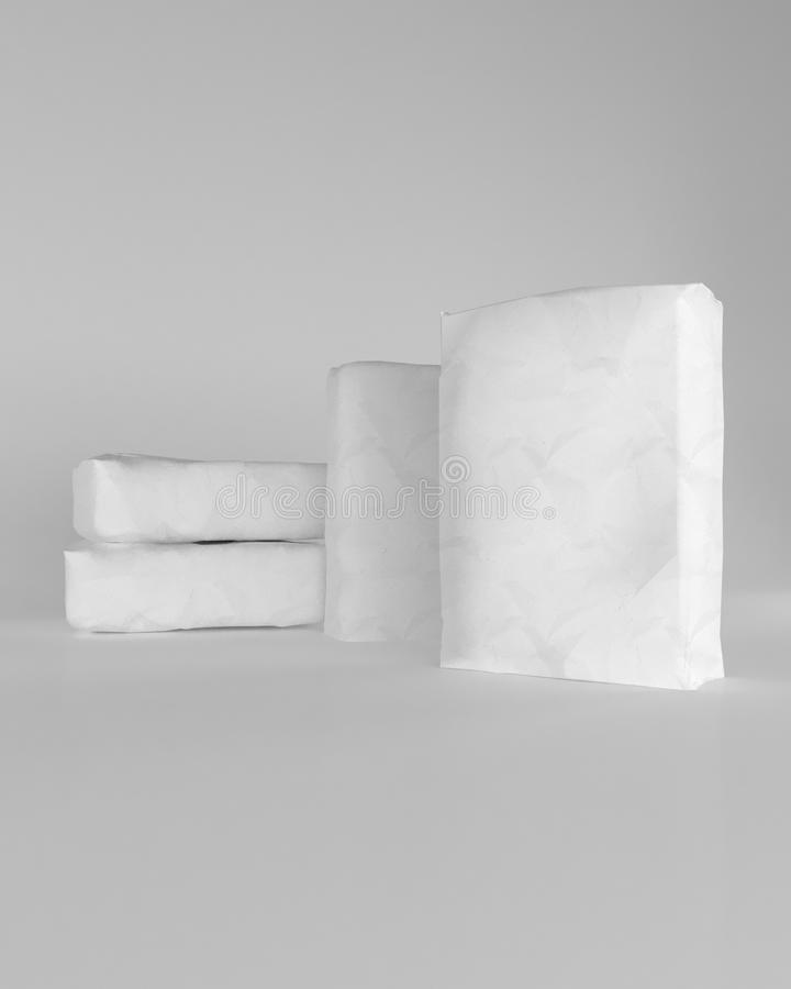 3d rendering of a sacks of cement on white background. 3d rendering of a white sacks of cement on white background royalty free illustration