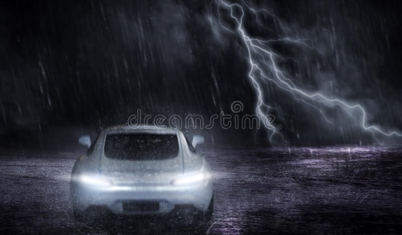 3D rendering the white sports car that focuses on the back, runs on a road with rain and lightning at night vector illustration