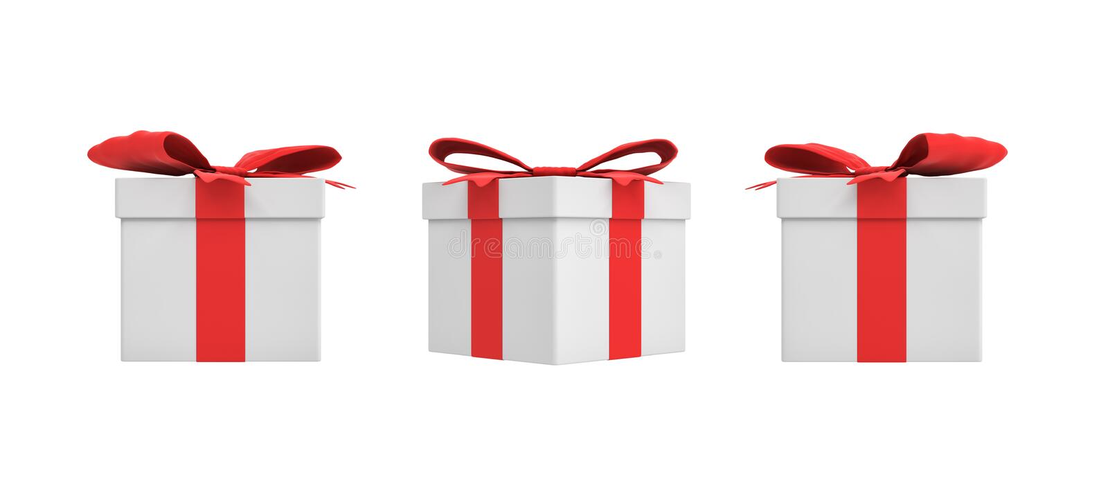 3d rendering of a white square gift box with a red ribbon bow in three different side views. vector illustration