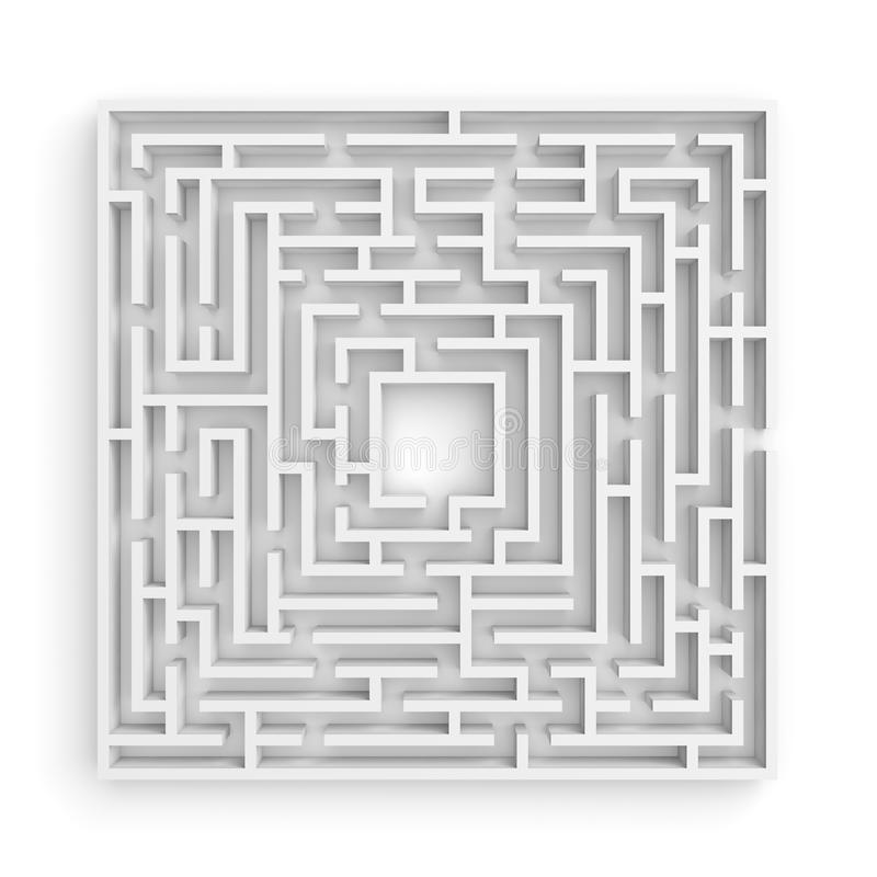 3d rendering of a white square maze on white background in front view. vector illustration