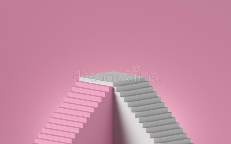 3d rendering of white staircase isolated on pink background. Blank platform, pedestal, showcase stand. Minimal concept. Architectural design elements vector illustration
