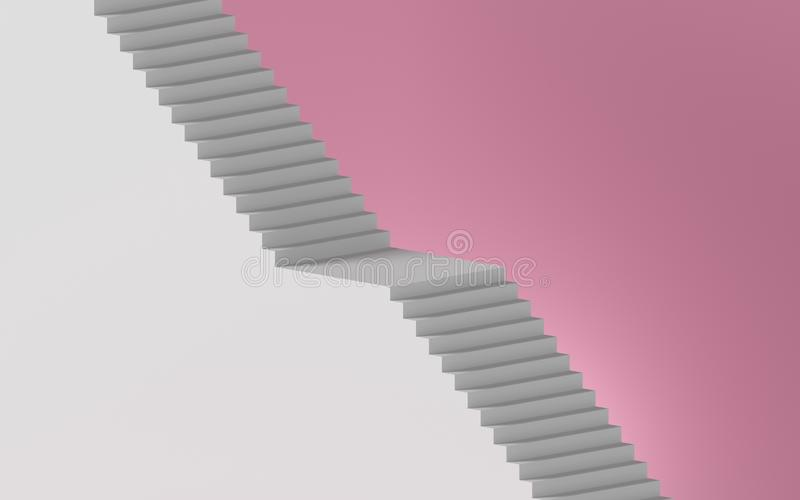 3d rendering of white staircase isolated on pink background, minimal concept. Architectural design elements.  stock illustration