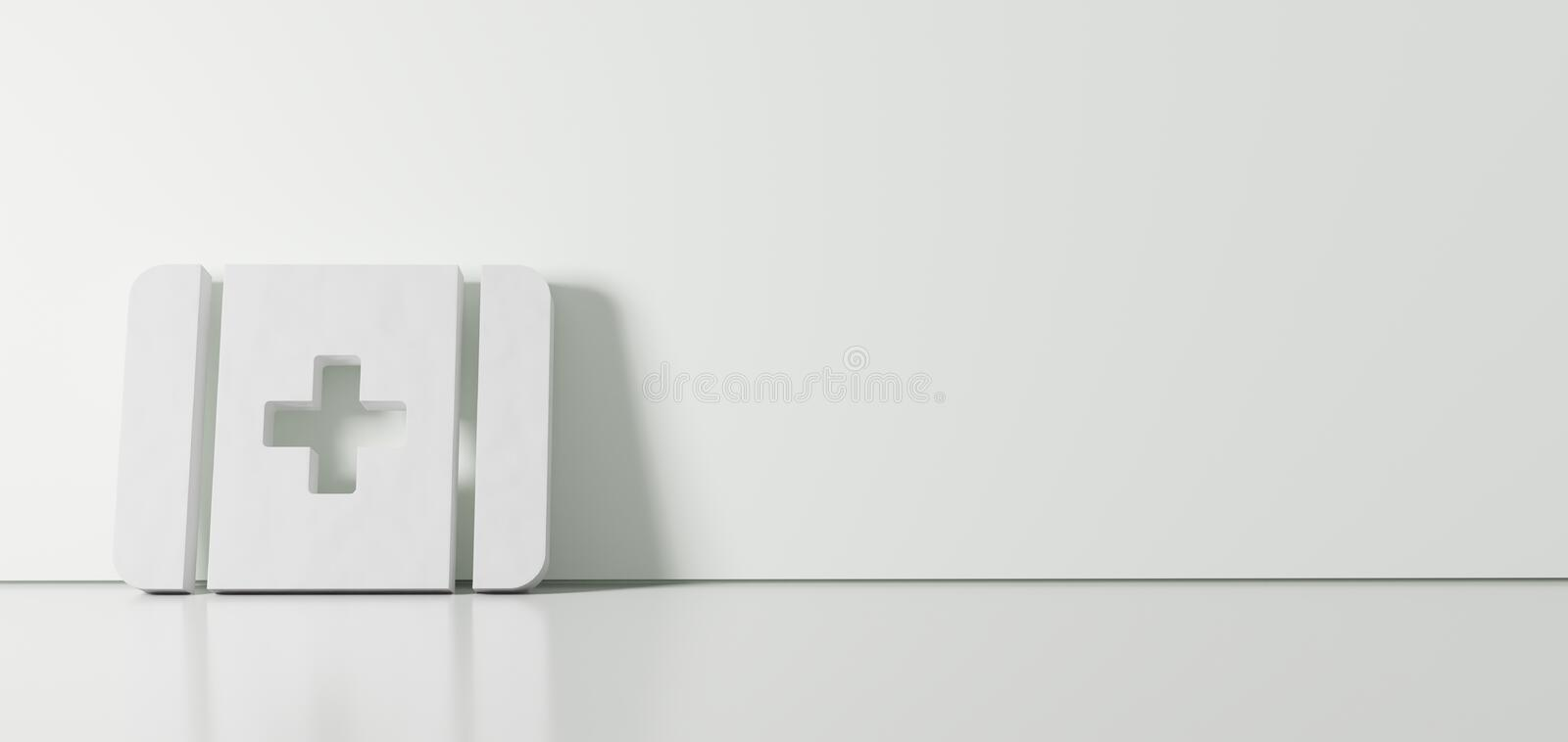 3D rendering of white symbol of first aid icon leaning on color wall with floor reflection with empty space on right side royalty free illustration