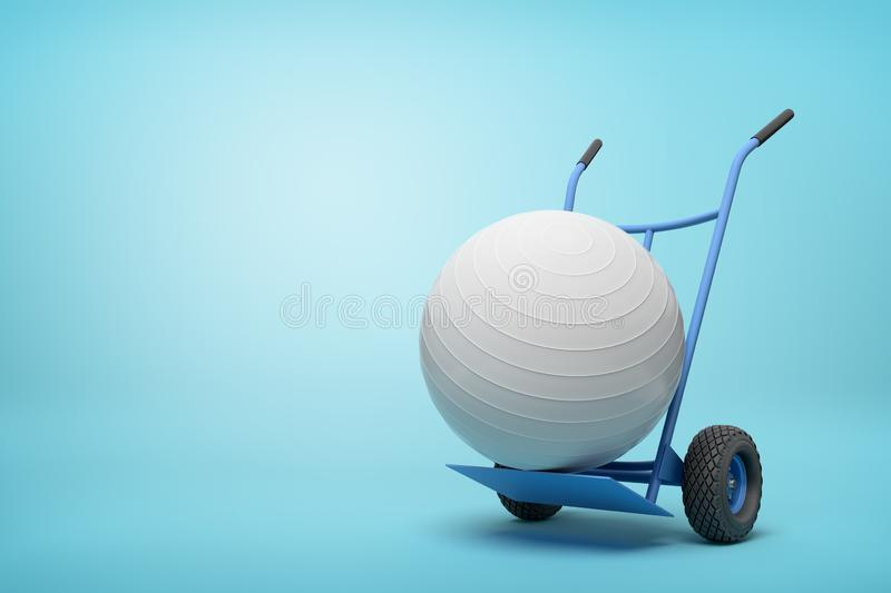 3d rendering of white yoga exercise ball on blue hand truck on light-blue background with copy space. Sporting supplies. Exercise equipment. Exercise and vector illustration