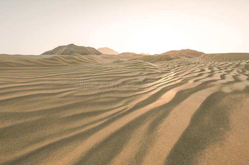 3d rendering, the wide desert, with stripes shapes. Computer digital image sand dune sandy landscape dry background pattern summer desserts empty heat natural royalty free illustration