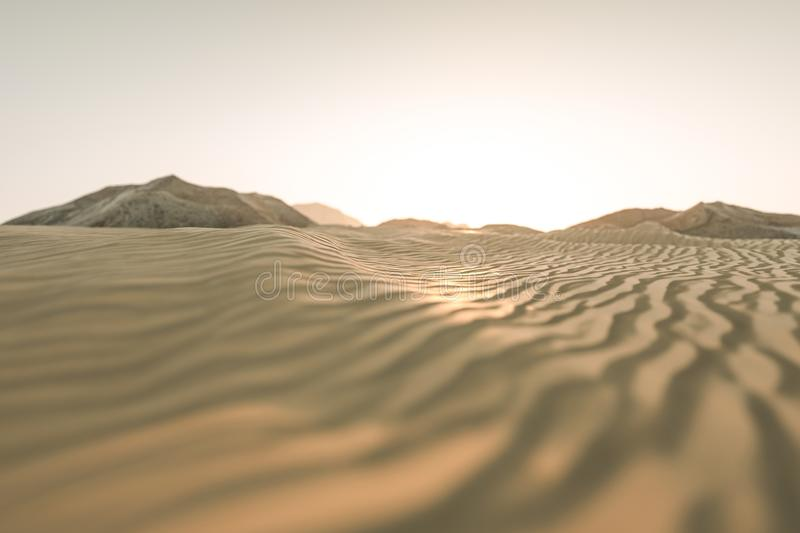 3d rendering, the wide desert, with stripes shapes. Computer digital image sand dune sandy landscape dry background pattern summer desserts empty heat natural stock illustration