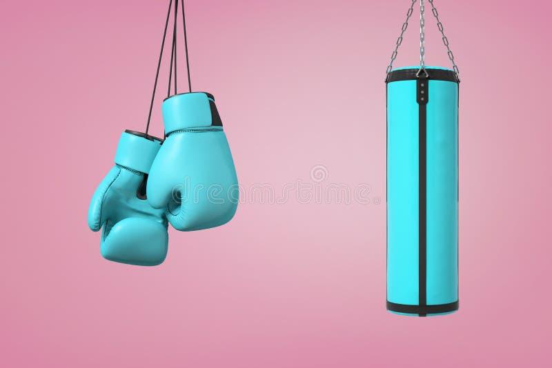 3d rendering wielka para błękitne bokserskie mitenki wiesza blisko błękitnej boks torby na różowym tle royalty ilustracja
