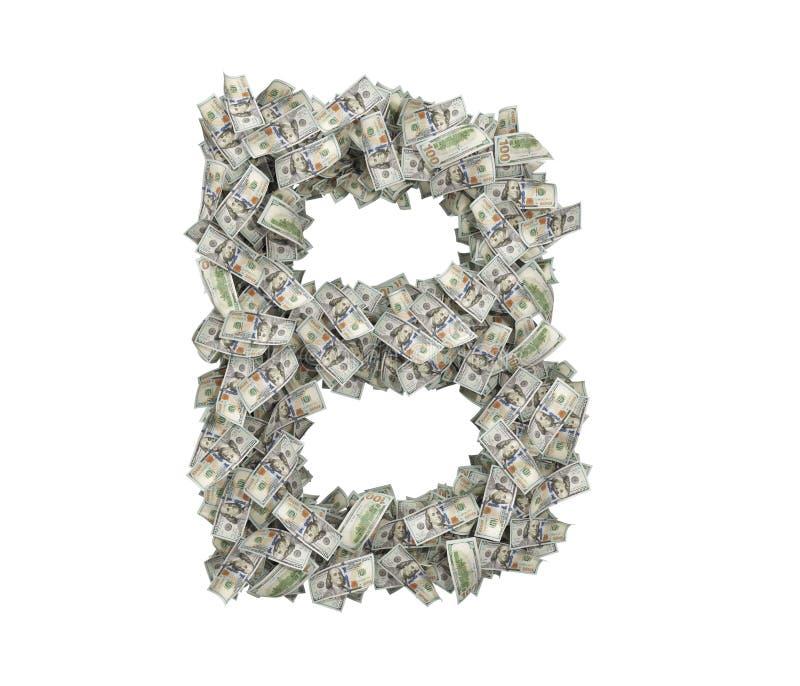 3d rendering wielki odosobniony ampuła listu b robić sto dolarowych rachunków ilustracja wektor