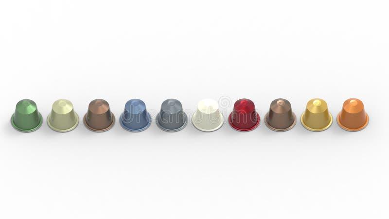 3d rendering wielokrotność barwił kawowych kapsuł różnych smaki ilustracji