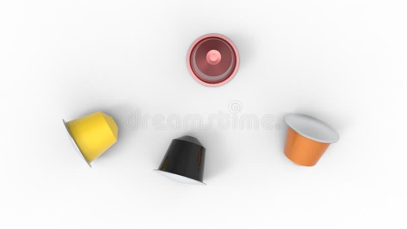 3d rendering wielokrotność barwił kawowych kapsuł różnych smaki royalty ilustracja