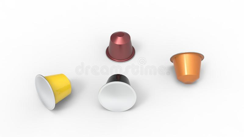 3d rendering wielokrotność barwił kawowych kapsuł różnych smaki ilustracja wektor