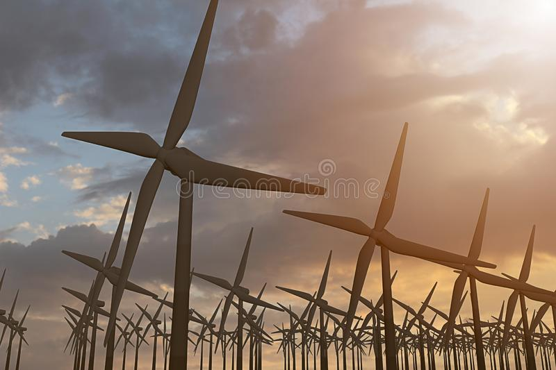 3D rendering of windmills producing engergy in the evening. 3D rendering of windmills in the sunset sky. Durable energy concept stock image